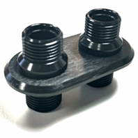 Black Aluminum 2 Port (1-L 1-S) AC Air Conditioning Heater Hose Firewall Bulkhead
