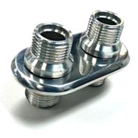 Polished Aluminum 2 Port (1-L 1-L) AC Air Conditioning Heater Hose Firewall Bulkhead