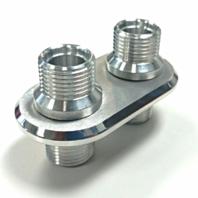 Anodized Aluminum 2 Port (1-L 1-L) AC Air Conditioning Heater Hose Firewall Bulkhead