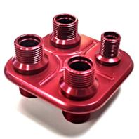 Red Aluminum 4 Port Square AC Air Conditioning Heater Hose Firewall Bulkhead