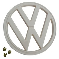 "FRONT EMBLEM, WHITE, WITH CLIPS, 72-79 VW TYPE 2 BUS, 7"" (182MM) 211-853-601E"