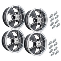 9735-9734 EMPI BRM STYLE WHEEL PACKAGE, 4-LUG VW BUG BEETLE, 4PC SET, GLOSS BLACK, 15 X 4.5 (9734),  15 X 5.5 (9735)