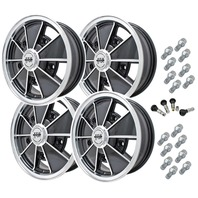 9676 EMPI BRM STYLE WHEEL PACKAGE, 5-LUG VW BUG, BUS,  BEETLE, 4PC SET, GLOSS BLACK, 15 X 5, 5 ON 205 MM