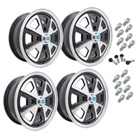 9681 EMPI 914 ALLOY STYLE WHEEL PACKAGE, 4-LUG VW BUG, GHIA, TYPE 3,  4PC SET, GLOSS BLACK, 15 X 5-1/2, 4 ON 130MM