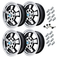 9732 EMPI RIVIERA STYLE WHEEL PACKAGE, 4-LUG VW BUG, GHIA, TYPE 3,  4PC SET, GLOSS BLACK, 15 X 5-1/2, 4 ON 130MM