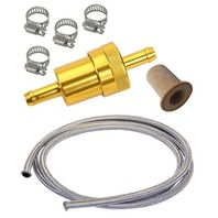"VW BUG, BEETLE, BAJA, BUS, ALUMINUM FUEL FILTER KIT W/ 1/4"" BRAIDED LINE, GOLD"