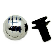 2011-14 Ford Mustang Chrome Billet 6-Speed Shift Knob w/ Retainer - Blue Pattern