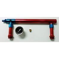 Aluminum Holley 4150 Double Pumper Fuel Log Red Blue Anodized w/ Black Oil Gauge