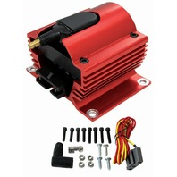 Red Universal 12 Volt External Ignition Coil E-Core Coil 50K Volt SB Chevy Ford