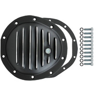 Black Aluminum Finned Chevy GM 10 Bolt Diff Differential Cover Truck 77-91 FRONT