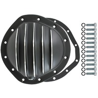 "Black Aluminum Finned Chevy GM 12 Bolt Diff  8.75"" RG Differential Cover REAR"