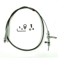 """TH350 57"""" Braided Stainless Steel Kick Down Cable SBC BBC Turbo Tranny Detent"""