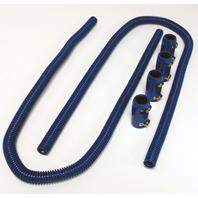 "44"" Blue Stainless Steel Heater Hose Kit w/ Blue Aluminum End Caps"