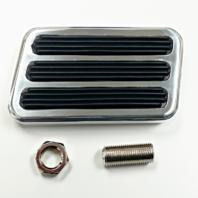 """Polished Aluminum Brake Pad w/ Rubber Inserts - 4-1/2"""" x 2-1/2"""" Street Rod"""