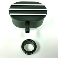 Hot Rod Black Oval w/ Silver Finned Valve Cover PCV Breather W/ Grommet