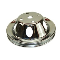 DISCONTINUED - SBC Chevy 283-350 Chrome Steel Vented LWP Single Groove Water Pump Pulley