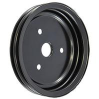SBC Chevy 283-350 Black Steel SWP Double Groove Crankshaft Pulley