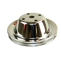 Single Groove Water Pump Pulley, Chrome Steel Smooth, Fits Chevy SBC 283-350 LWP