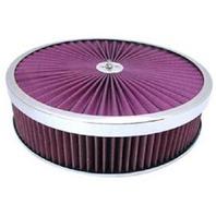 Chrome 14 x 3 Super Flow Filter Air Cleaner Set Washable Element Hi-Lip Base