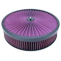Black 14 x 3 Super Flow Filter Air Cleaner Set Washable Element Recessed Base