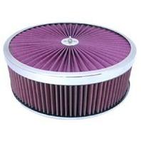 Chrome 14 x 4 Super Flow Filter Air Cleaner Set Washable Element Hi-Lip Base