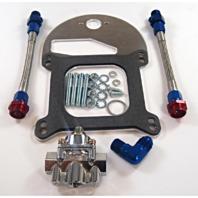 Braided Fuel Line Pressure Regulator Kit Dual Outlet - Holley 4150 Carburetor 6AN
