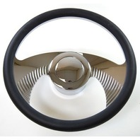 "Hot Rod 14"" Chrome Billet ""Wings"" Style Steering Wheel Package W/Leather Grip"
