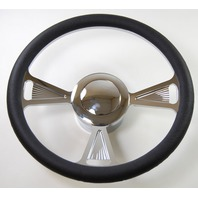 """Hot Rod 14"""" Chrome Billet """"3 Tri"""" Style Steering Wheel Package W/Leather Grip"""