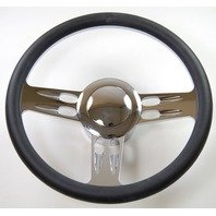 """Hot Rod 14"""" Chrome Billet """"3 Slot"""" Style Steering Wheel Package W/Leather Grip"""