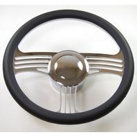 "Hot Rod 14"" Chrome Billet ""Slash"" Style Steering Wheel Package W/Leather Grip"