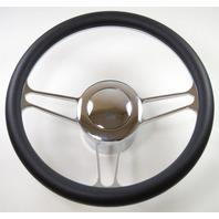 "Hot Rod 14"" Chrome Billet ""Vintage"" Style Steering Wheel Package W/Leather Grip"