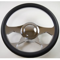 """Hot Rod 14"""" Chrome Billet Revolution Style Steering Wheel Package W/Leather Grip"""