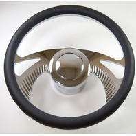 """Hot Rod 14"""" Chrome Billet Boomerang Style Steering Wheel Package W/Leather Grip"""