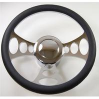 "Hot Rod 14"" Chrome Billet ""Orbiter"" Style Steering Wheel Package W/Leather Grip"