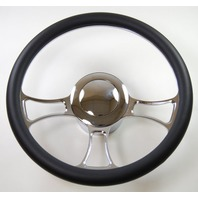 """Hot Rod 14"""" Chrome Billet """"Trinity"""" Style Steering Wheel Package W/Leather Grip"""