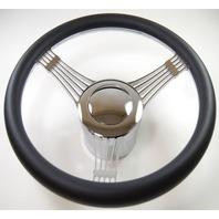 "Hot Rod 14"" Chrome Billet ""Banjo"" Style Steering Wheel Package W/Leather Grip"