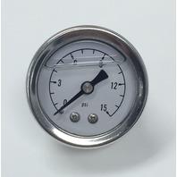 "Hot Rod Chrome White Face 1.5"" Fuel Pressure Gauge Oil Filled 0-15 PSI"