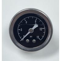 """Hot Rod Chrome Black Face 1.5"""" Fuel Pressure Gauge Oil Filled 0-15 PSI"""