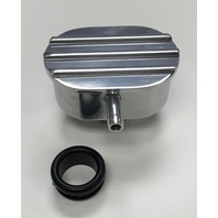 Hot Rod Polished Oval Finned Valve Cover PCV Breather W/ Grommet