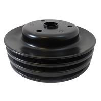 SBC Chevy 283-350 Black Steel LWP Triple Groove Crankshaft Pulley