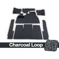 CARPET KIT,7PC, W/FOOTREST/HTR GROMMETS,58-68 BUG CHARCOAL LOOP W/BLACK CLOTH BINDING