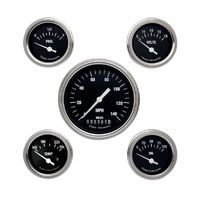 Classic Instruments Hot Rod Series Black 5 Gauge Set -Speedo, Fuel, Oil, Temp...
