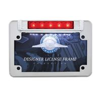 LED Motorcycle License Plate Frame - Deluxe Vintage Design - 3rd Brake Light