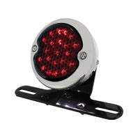 "LED ""Bobber""  Style Smoke Lens Tail Light & LED License Light Rear Fender Mount Black"