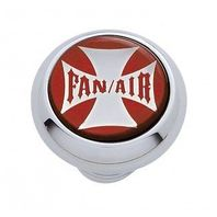 "Chrome Aluminum ""Fan/Air"" Dash Knob with Glossy Red Maltese Cross Sticker"