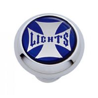 "Chrome Aluminum ""Lights"" Dash Knob with Glossy Blue Maltese Cross Sticker"