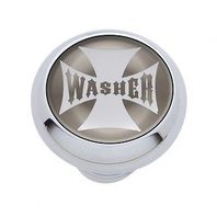 "Chrome Aluminum ""Washer"" Dash Knob with Glossy Silver Maltese Cross Sticker"