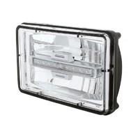 "High Power LED 4"" X 6"" Rectangular High Beam Headlight w/ Amber Auxiliary Light"