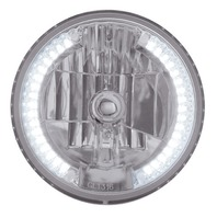 "7"" DIA. CRYSTAL HEADLIGHT BULB WITH 34 AUXILIARY LED - WHITE, Car, Truck, Street"