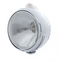"""Stainless Steel """"Guide"""" H4 Halogen Headlight w Amber LED Top Light, Clear"""